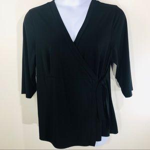 Lane Bryant Black Stretch Wrap Blouse Size 18/20